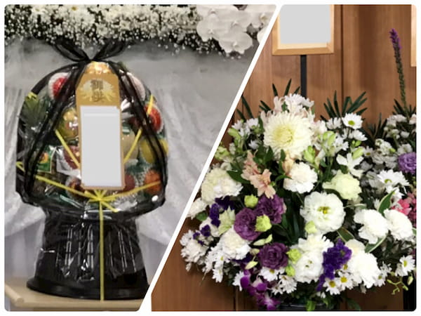 お供え物の、盛籠やお花もご相談下さい